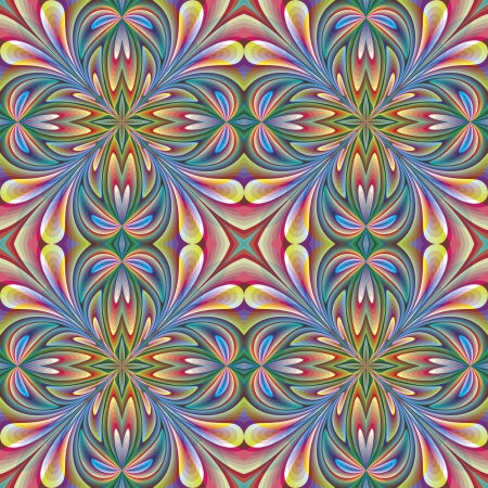 Floral design in art nouveau style, seamless pattern with historic motifs in vivid rainbow colors for wallpaper, decoration, stain glass  Vector