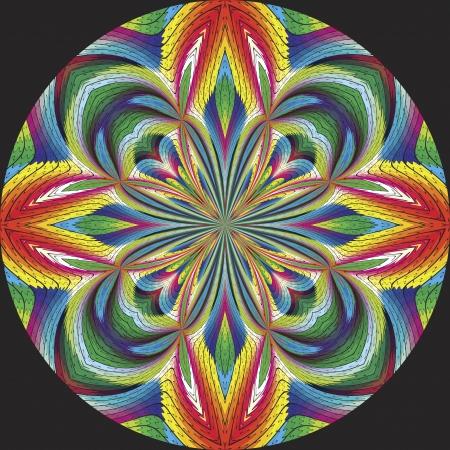 tollas: Tollas amerikai indián rosette vagy álom elkapó ihlette ősi motívumok a kortárs design és ragyogó színek a fekete háttér