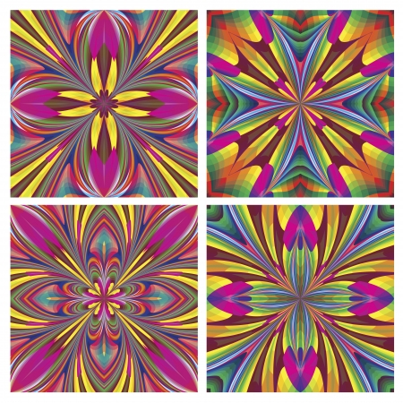 jugendstil: Set of seamless art deco tiles with historic motifs in vivid and bright colors for tapestry, wall design and decoration