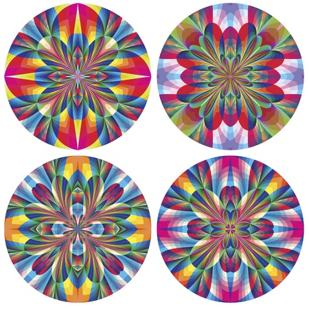 jugendstil: Set of art deco rosettes with historic motifs in vivid and bright colors for wall design and decoration