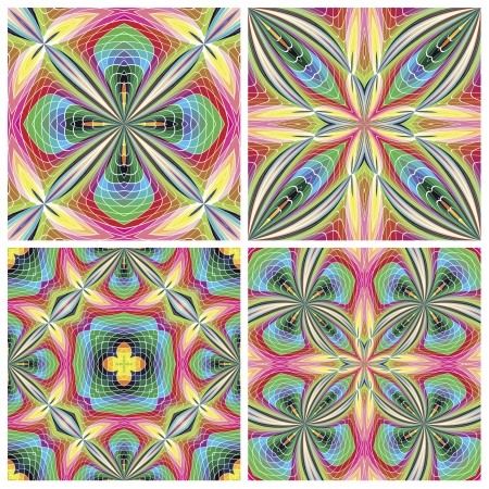 jugendstil: Set of seamless stain glass art deco tiles with historic motifs in vivid and bright colors for tapestry, wall design and decoration Illustration
