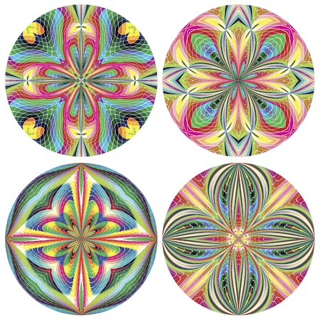 wall decal: Set of stain glass art deco rosettes with historic motifs in vivid and bright colors for wall design and decoration