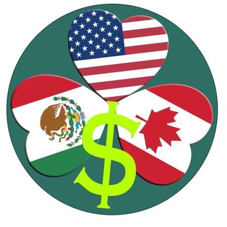 nafta: NAFTA, North American Free Trade Agreement between Canada, Mexico, USA Stock Photo