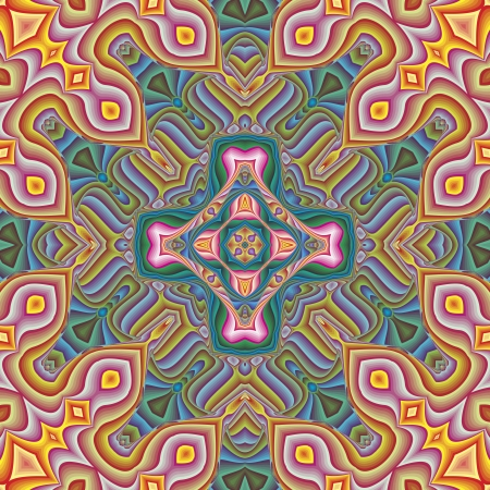 Oriental historic vector pattern, seamless with arabesque motifs, sophisticated in vivid and bright rainbow colors Stock Vector - 17102140