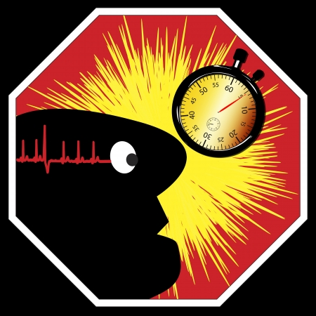 Be aware: Time pressure and stress can be fatal and can lead to stroke or heart attack Stock Photo - 17719186
