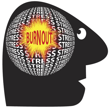 burn out: Be aware of stress and burnout which can cause serious health problems Illustration