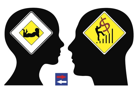 interchanged: Man and woman have different concepts or visions about their future life; the symbols can easily be interchanged