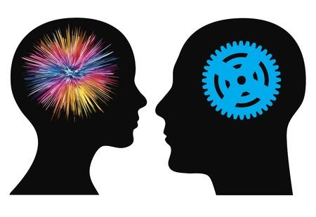 Man en vrouw hebben verschillende talenten of vaardigheden, van artistiek tot technisch, de symbolen kunnen eenvoudig worden verwisseld