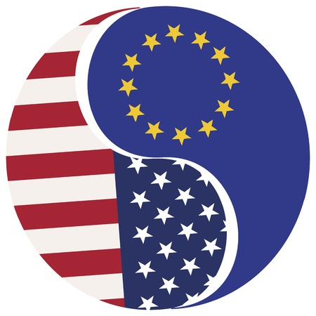 USA and Europe: Symbol for the proposed Free Trade Zone between the USA and the European Union Stock Vector - 17820026