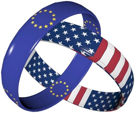 VS en Europa: Symbool voor de voorgestelde vrijhandelszone tussen de VS en de Europese Unie Stockfoto