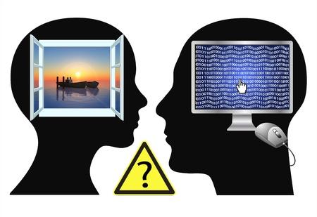 percepción: Interno pelea: Pareja es buscar problemas debido a la diferente énfasis, la visión, las prioridades, los sueños Foto de archivo