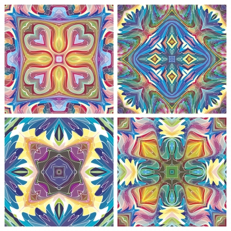 inca: Set of American tribal art, inspired by ancient motifs, stained glass like, seamless in bright colors on white background