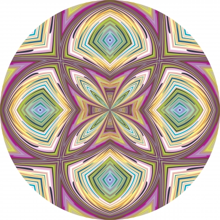 Round orchid pattern in trendy art nouveau style, vibrant and lucid Vector