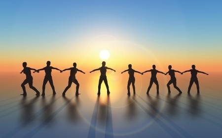 Squadra vincente e di successo con la missione congiunta e comune obiettivo