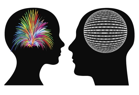 Man and woman might have different perceptions and mode of thoughts, between creative, spontaneous and logical, rational Stock Vector - 18569816