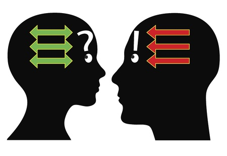 Dispute. Man and woman argue diversely and might solve problems in different ways Stock Vector - 18650262