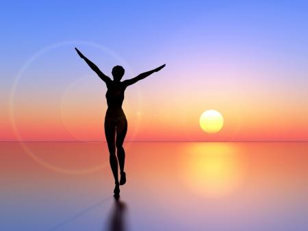 Forever young. Adembenemende schoonheid dansen in de achtergrondverlichting van de rijzende zon als symbool voor schoonheid en rijkdom
