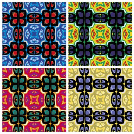 Set of artistic African textile designs. Modern and fancy fabrics with traditional motifs in vector art, seamless Stock Vector - 18722972