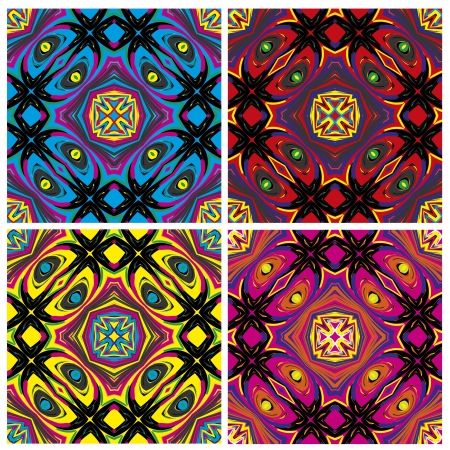 printed material: Set of artistic African textile designs. Modern and fancy fabrics with traditional motifs in vector art, seamless Illustration