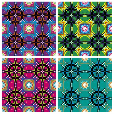 Set of artistic African textile designs. Modern and fancy fabrics with traditional motifs in vector art, seamless Stock Vector - 18722974