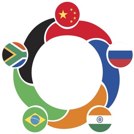 BRICS、ブラジル、ロシア、インド、中国、南アフリカ共和国の新興の国民経済の協会