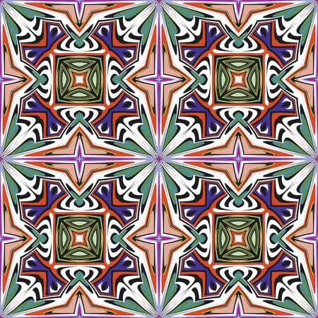 jugendstil: Art nouveau tile, seamless artistic vector pattern with historic motifs in vivid and bright colors