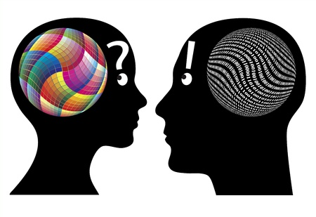 Creativity versus logic. Differences in cognition between man and woman 矢量图片