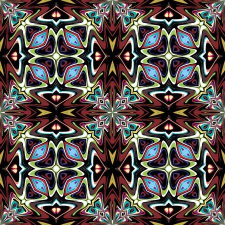 jugendstil: Art nouveau design, seamless vector tile pattern with historic motifs in vivid and bright colors Illustration