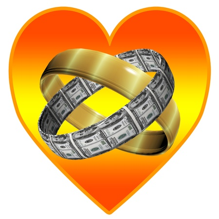 Marriage for love and for money, two wedding rings, one made of gold and one made of dollar bills Stock Photo - 19910613