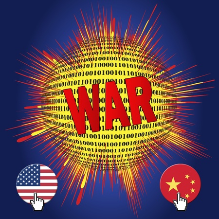 cyber war: Cyber war between USA and China, hacking foreign networks has become part of modern warfare Stock Photo