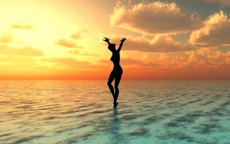 Natte vakantie dromen, sexy jonge vrouw op het strand bij prachtige zonsondergang Stockfoto