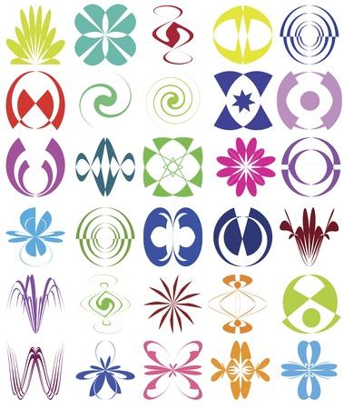 feng shui: Set of esoteric design elements Symbols for harmony, ease of mind, meditation, zen, for decoration, business, stationary Illustration