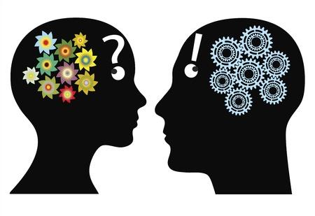 Creativiteit of rationaliteit Man en vrouw denkt op verschillende manieren, emotionele versus logische