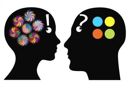 ¿Quién es el hombre más creativo y la mujer difieren en la percepción de la imaginación, la fantasía y el color Foto de archivo
