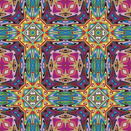 Modern Mexican textile design  Seamless vector pattern inspired by ancient motifs from Incas, Aztec in contemporary design and brilliant colors  イラスト・ベクター素材