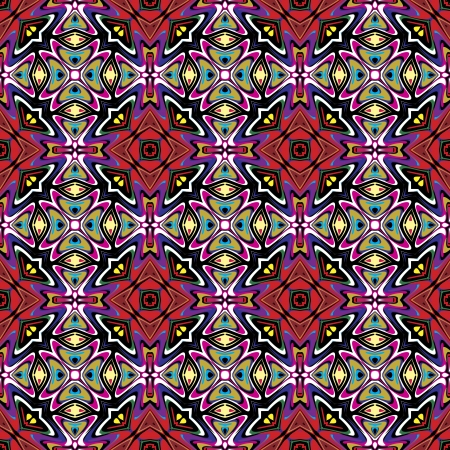 Modern fabric design from Latin America  Seamless vector pattern inspired by ancient motifs in vivid colors