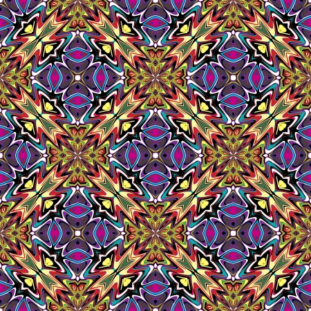 mayas: Modern fabric design from Latin America  Seamless vector pattern inspired by ancient motifs in vivid colors Illustration