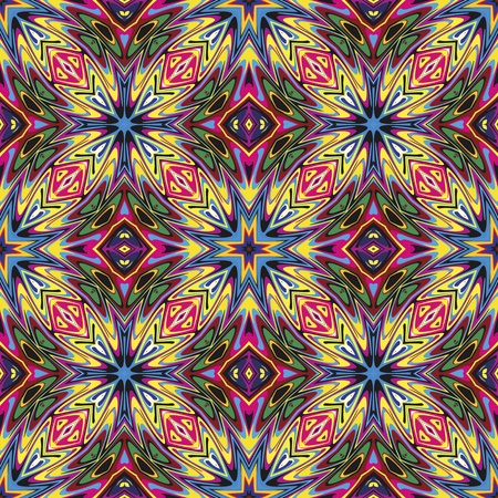 Modern fabric design from Latin America  Seamless vector pattern inspired by ancient motifs in vivid colors  イラスト・ベクター素材