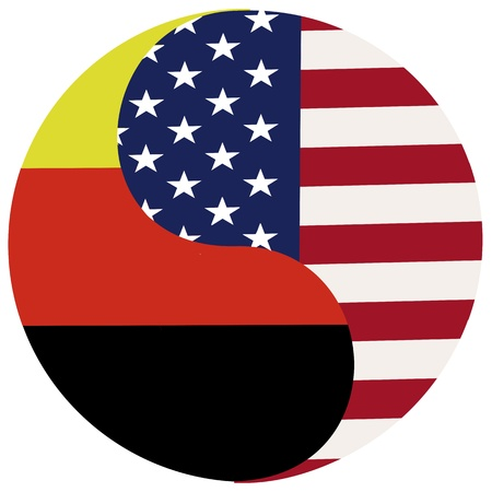 Germany and USA   Symbol for the partnership and ties between the two countries Stock Photo - 21158020