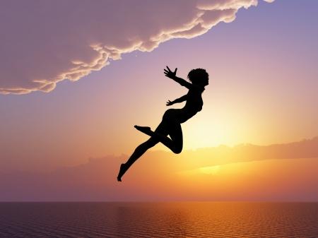 야생으로 태어난 물으로 점프하는 여자 성공, 자유, 행복과 자신감에 대 한 기호