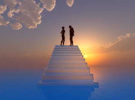 love story: Declaration of love  Couple floating on cloud nine Stock Photo