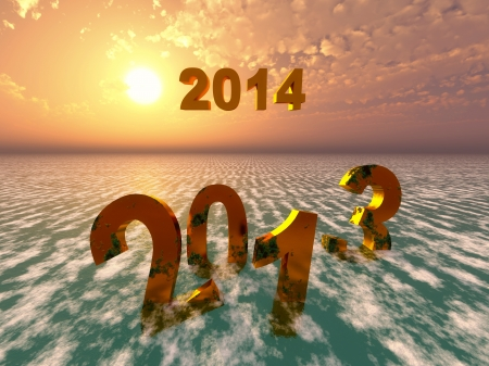 must: The year 2013 will fall into oblivion while 2014 will arise  Religeous symbol that all things must pass  Stock Photo