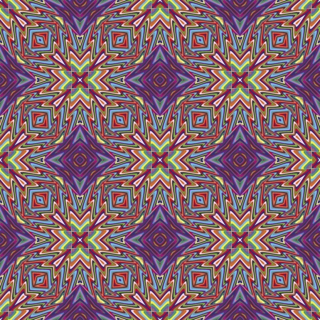 brilliant colors: Modern Indian pattern with spiritual symbols derived from ancient motifs in vivid and brilliant colors, seamless in sophisticated vector art
