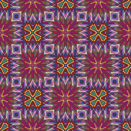 derived: Modern Indian pattern with spiritual symbols derived from ancient motifs in vivid and brilliant colors, seamless in sophisticated vector art