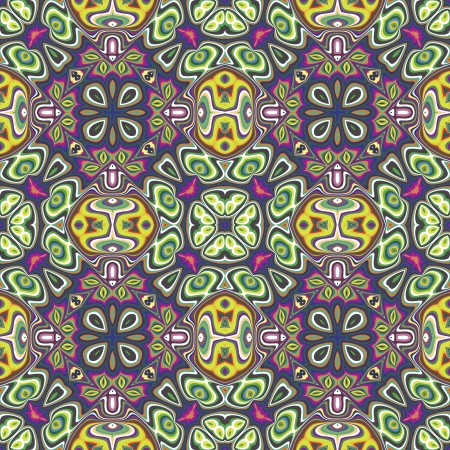 wall decal: Modern textile design from the Caribbean  Seamless vector artwork in dynamic, vibrant and fancy colors, inspired by traditional motifs Illustration