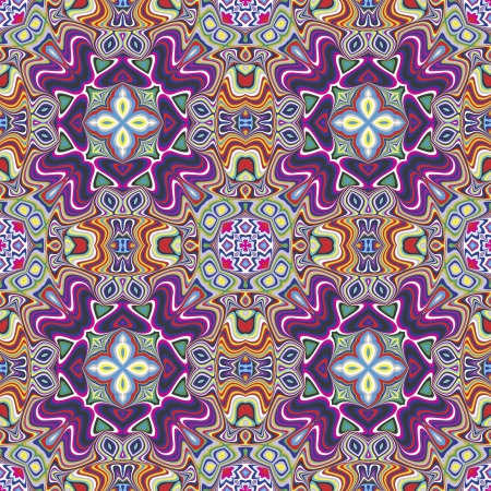 Modern textile design from the Caribbean  Seamless vector artwork in dynamic, vibrant and fancy colors, inspired by traditional motifs Illustration
