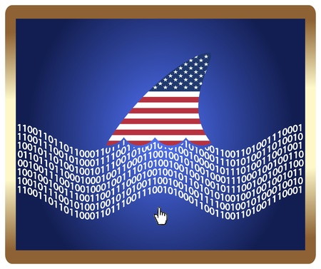 espionage: American control the web concept  The sharp symbol as metaphor for the USA trying to control the Internet