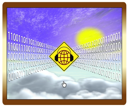 Cloud computing at risk, web security concept photo