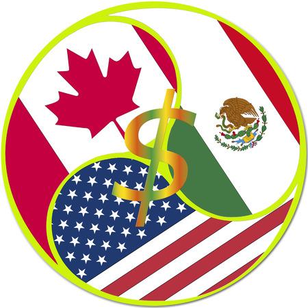 nafta: NAFTA Symbol, North American Free Trade Agreement between Canada, Mexico, USA Stock Photo