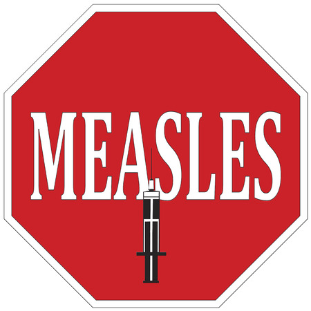 infectious: Stop Measles   Concept for health campaign  Vaccination helps to prevent the spread of infectious measles